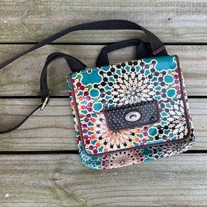 Brown & Colorful Fossil Key-Per Crossbody Purse